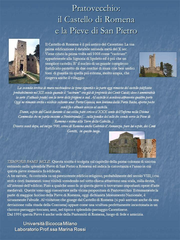 Università Bicocca Milano Laboratorio Prof.ssa Marina Rossi Pratovecchio: il Castello di Romena e la Pieve di San Pietro La seconda cerchia di mura ra