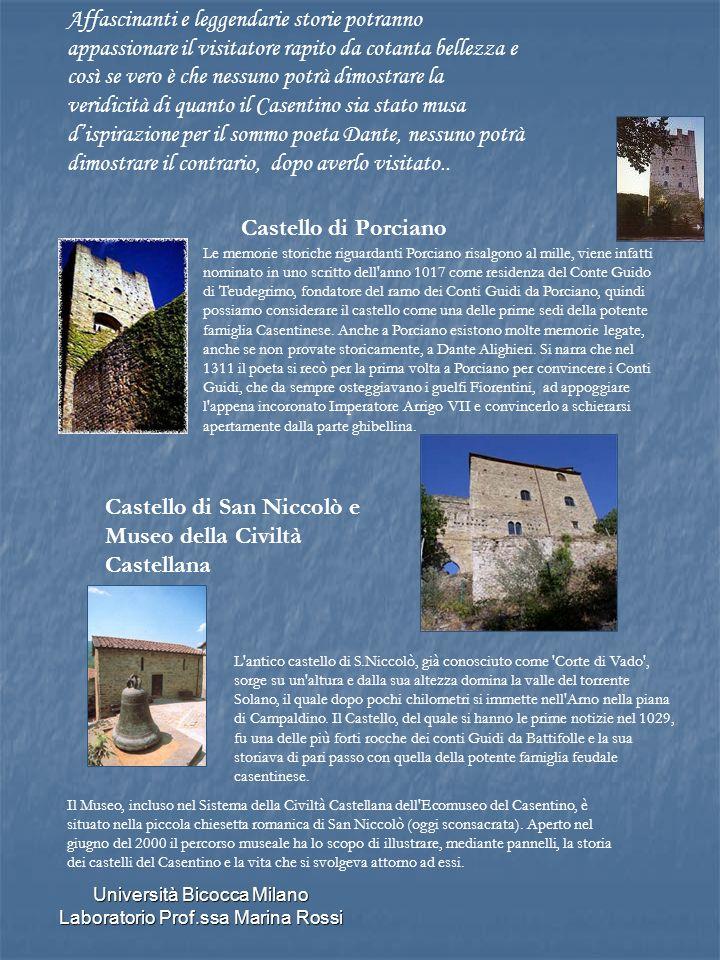 Università Bicocca Milano Laboratorio Prof.ssa Marina Rossi Castello di Porciano Affascinanti e leggendarie storie potranno appassionare il visitatore