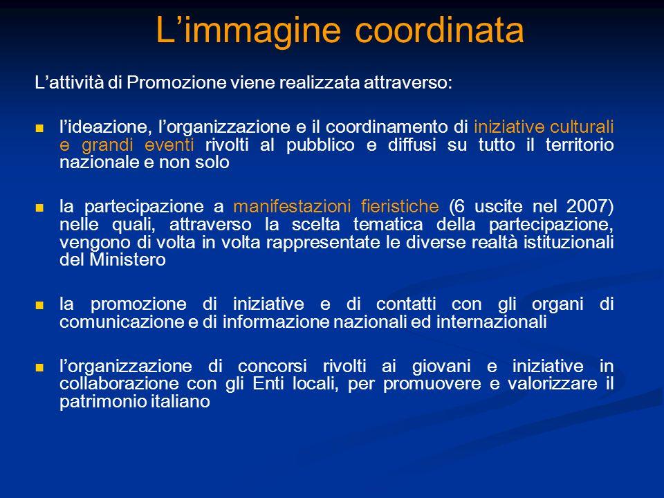 Limmagine coordinata Lattività di Promozione viene realizzata attraverso: lideazione, lorganizzazione e il coordinamento di iniziative culturali e gra
