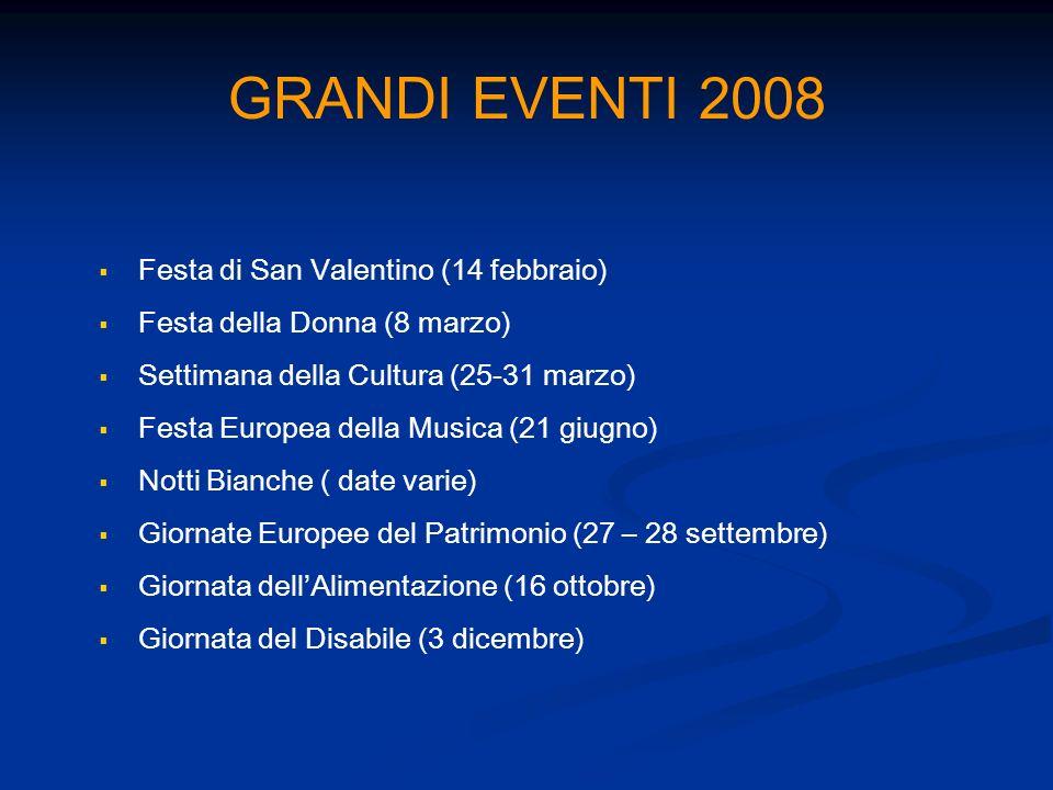 GRANDI EVENTI 2008 Festa di San Valentino (14 febbraio) Festa della Donna (8 marzo) Settimana della Cultura (25-31 marzo) Festa Europea della Musica (