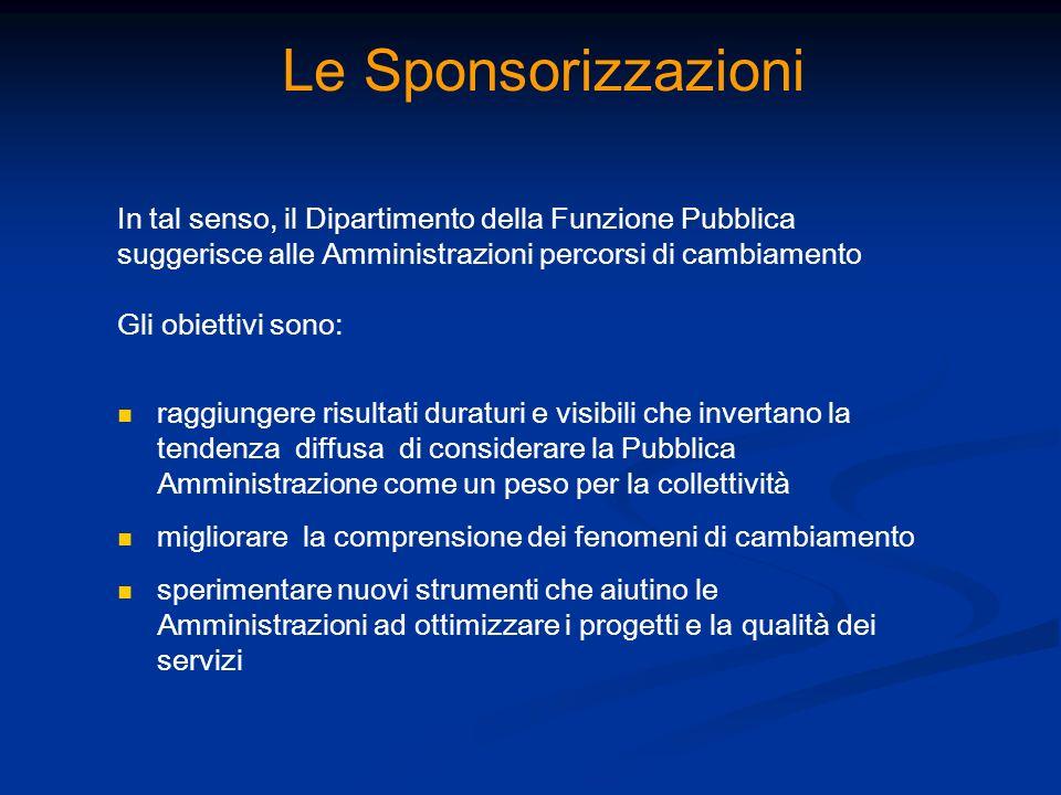 Le Sponsorizzazioni In tal senso, il Dipartimento della Funzione Pubblica suggerisce alle Amministrazioni percorsi di cambiamento Gli obiettivi sono: