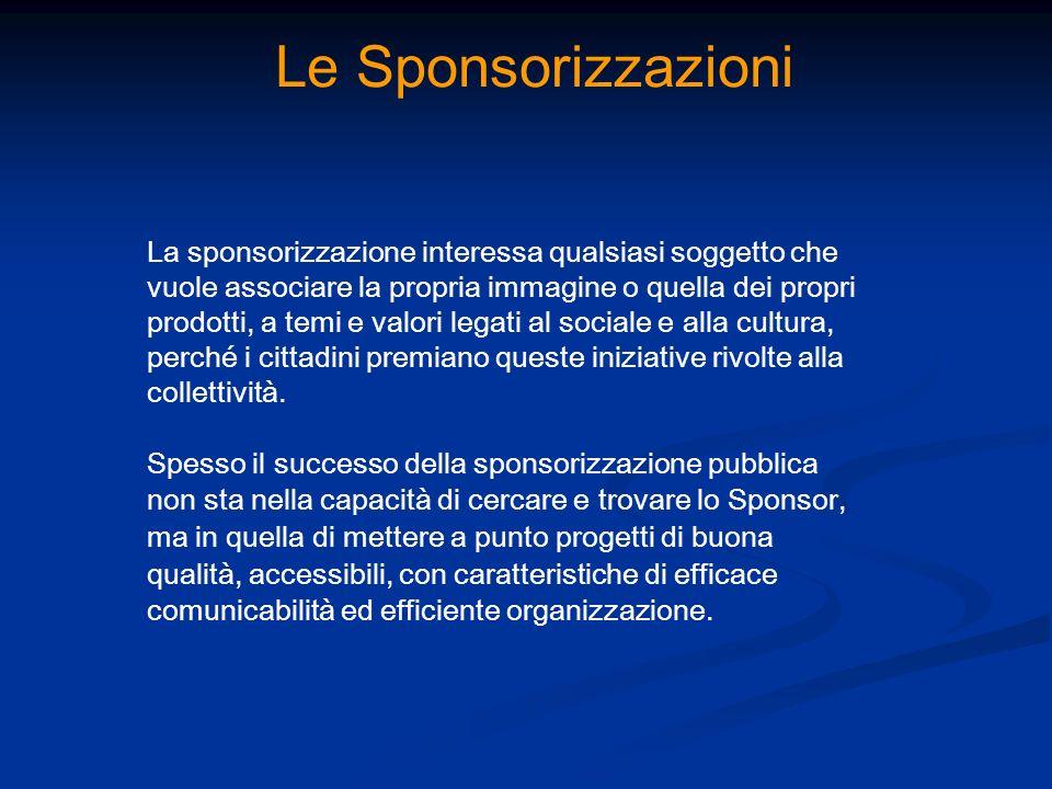 Le Sponsorizzazioni La sponsorizzazione interessa qualsiasi soggetto che vuole associare la propria immagine o quella dei propri prodotti, a temi e va