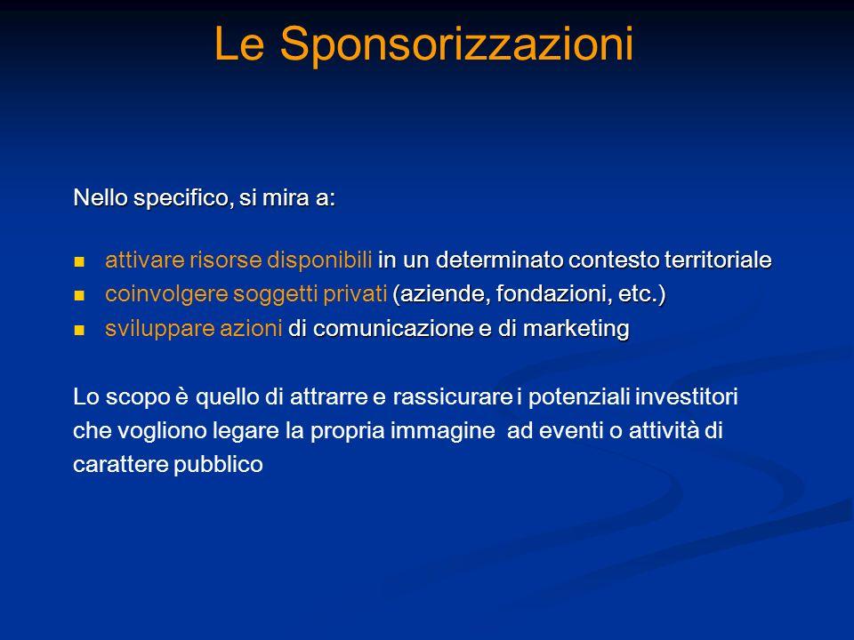 Le Sponsorizzazioni Nello specifico, si mira a: in un determinato contesto territoriale attivare risorse disponibili in un determinato contesto territ