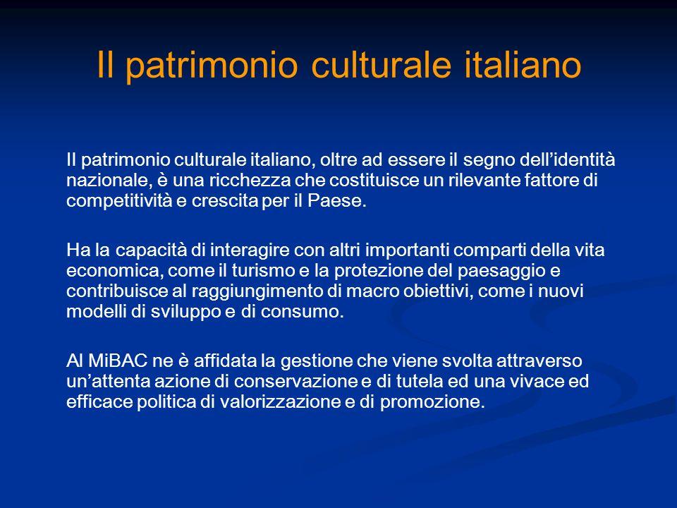 Il patrimonio culturale italiano Il patrimonio culturale italiano, oltre ad essere il segno dellidentità nazionale, è una ricchezza che costituisce un