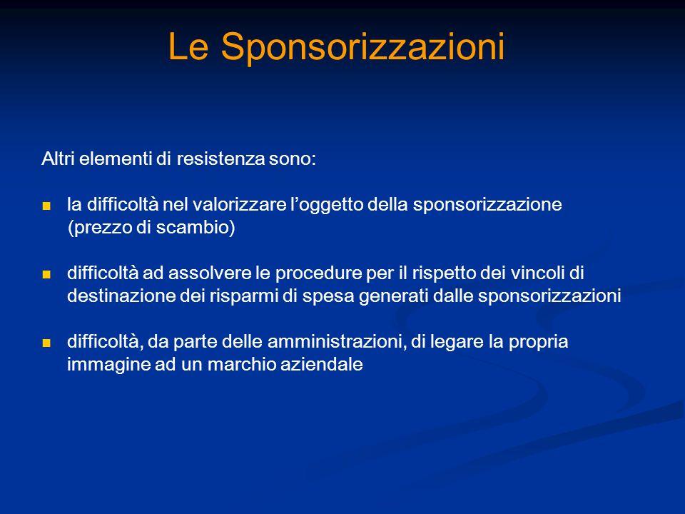 Le Sponsorizzazioni Altri elementi di resistenza sono: la difficoltà nel valorizzare loggetto della sponsorizzazione (prezzo di scambio) difficoltà ad