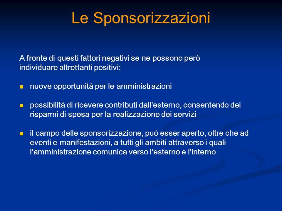 Le Sponsorizzazioni A fronte di questi fattori negativi se ne possono però individuare altrettanti positivi: nuove opportunità per le amministrazioni