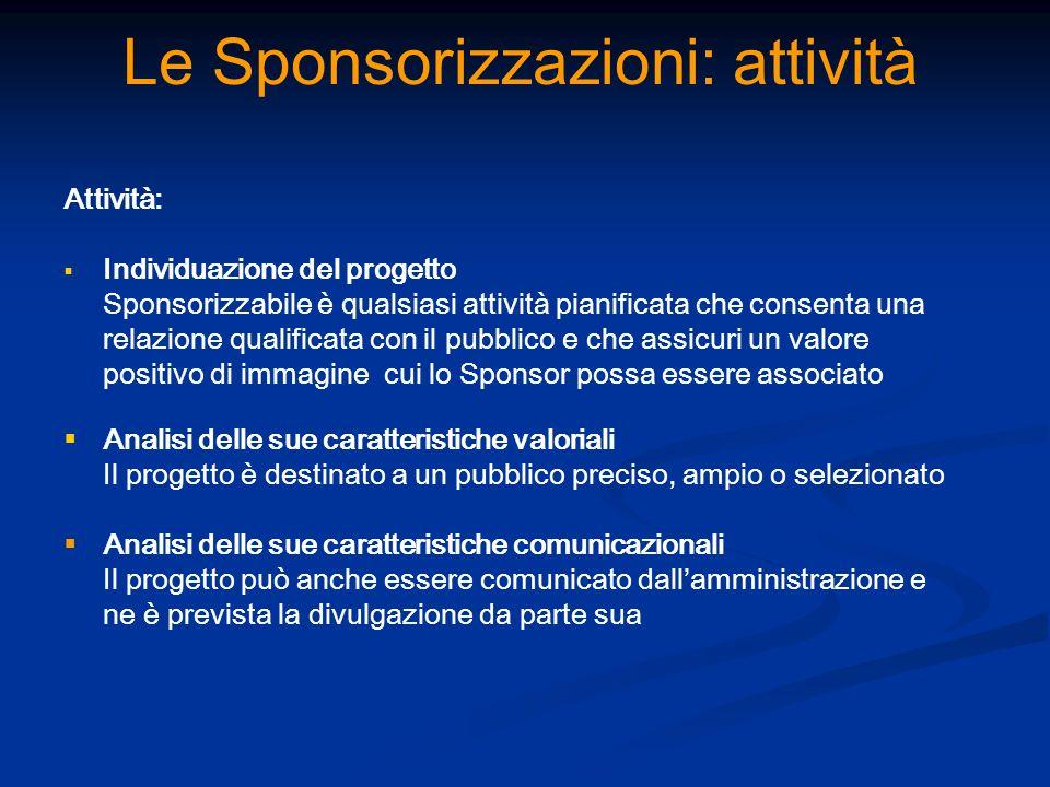 Le Sponsorizzazioni: attività Attività: Individuazione del progetto Sponsorizzabile è qualsiasi attività pianificata che consenta una relazione qualif