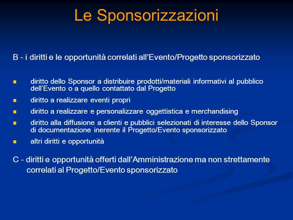 Le Sponsorizzazioni B - i diritti e le opportunità correlati allEvento/Progetto sponsorizzato diritto dello Sponsor a distribuire prodotti/materiali i
