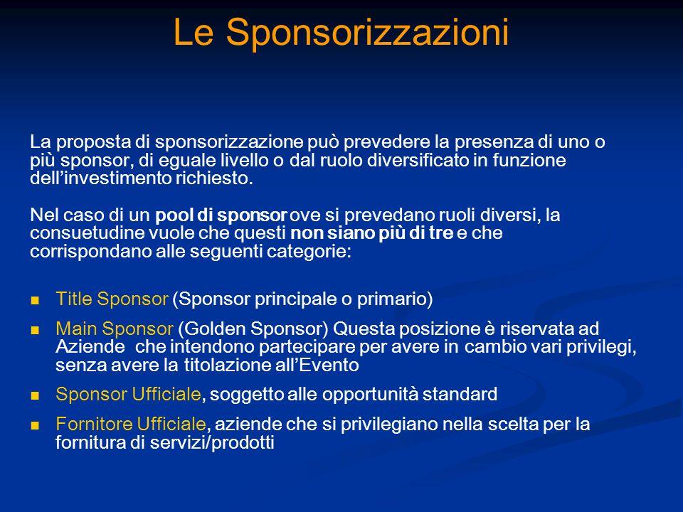 Le Sponsorizzazioni La proposta di sponsorizzazione può prevedere la presenza di uno o più sponsor, di eguale livello o dal ruolo diversificato in fun