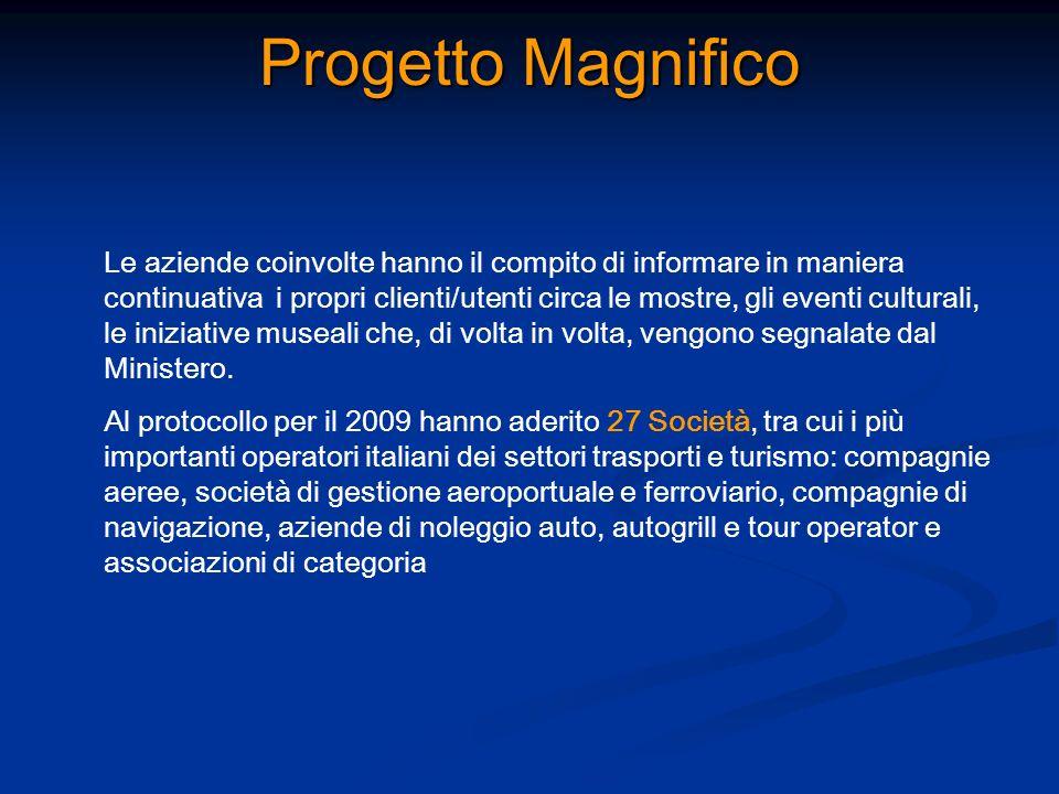 Progetto Magnifico Le aziende coinvolte hanno il compito di informare in maniera continuativa i propri clienti/utenti circa le mostre, gli eventi cult