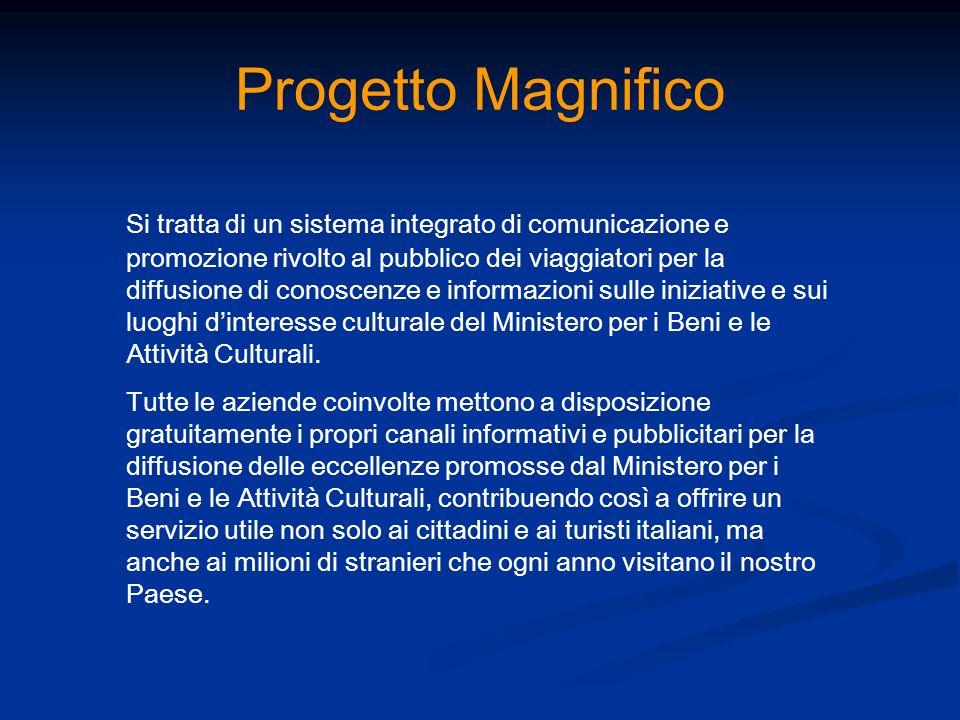 Progetto Magnifico Si tratta di un sistema integrato di comunicazione e promozione rivolto al pubblico dei viaggiatori per la diffusione di conoscenze