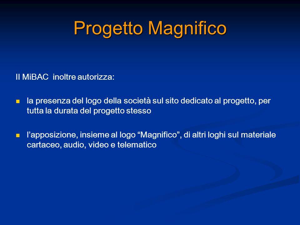 Progetto Magnifico Il MiBAC inoltre autorizza: la presenza del logo della società sul sito dedicato al progetto, per tutta la durata del progetto stes