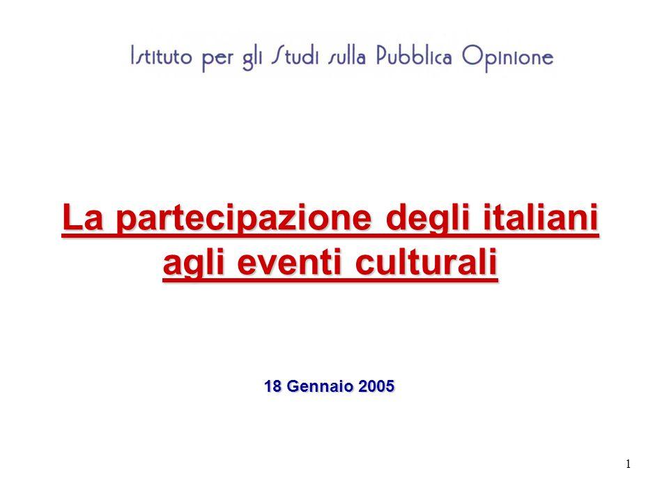 1 La partecipazione degli italiani agli eventi culturali 18 Gennaio 2005