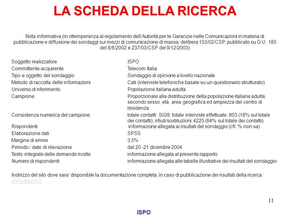 LA SCHEDA DELLA RICERCA ISPO 11 Nota informativa (in ottemperanza al regolamento dellAutorità per le Garanzie nelle Comunicazioni in materia di pubbli