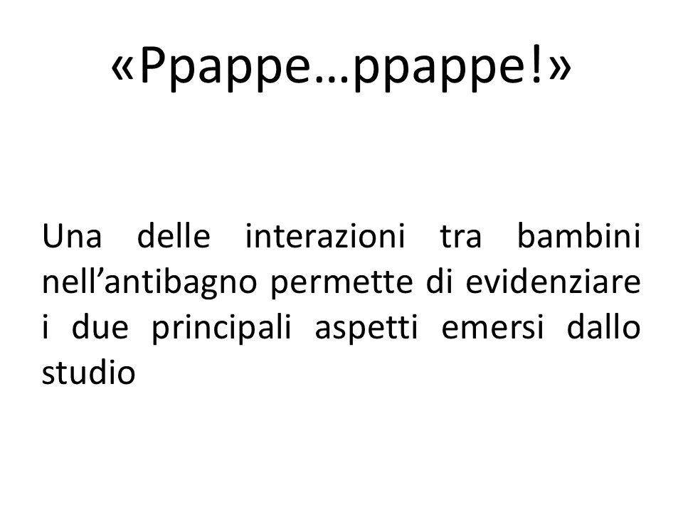«Ppappe…ppappe!» Una delle interazioni tra bambini nellantibagno permette di evidenziare i due principali aspetti emersi dallo studio