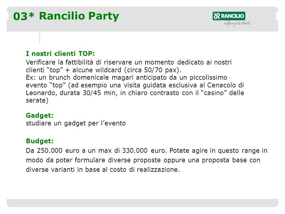 03* Rancilio Party I nostri clienti TOP: Verificare la fattibilità di riservare un momento dedicato ai nostri clienti top + alcune wildcard (circa 50/70 pax).