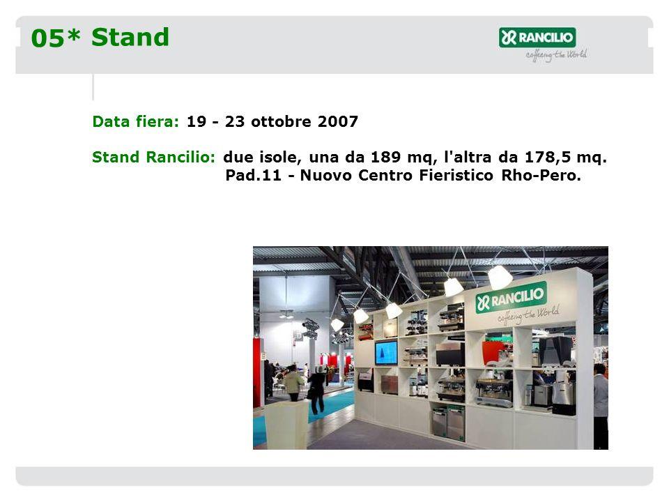 05* Stand Data fiera: 19 - 23 ottobre 2007 Stand Rancilio: due isole, una da 189 mq, l altra da 178,5 mq.