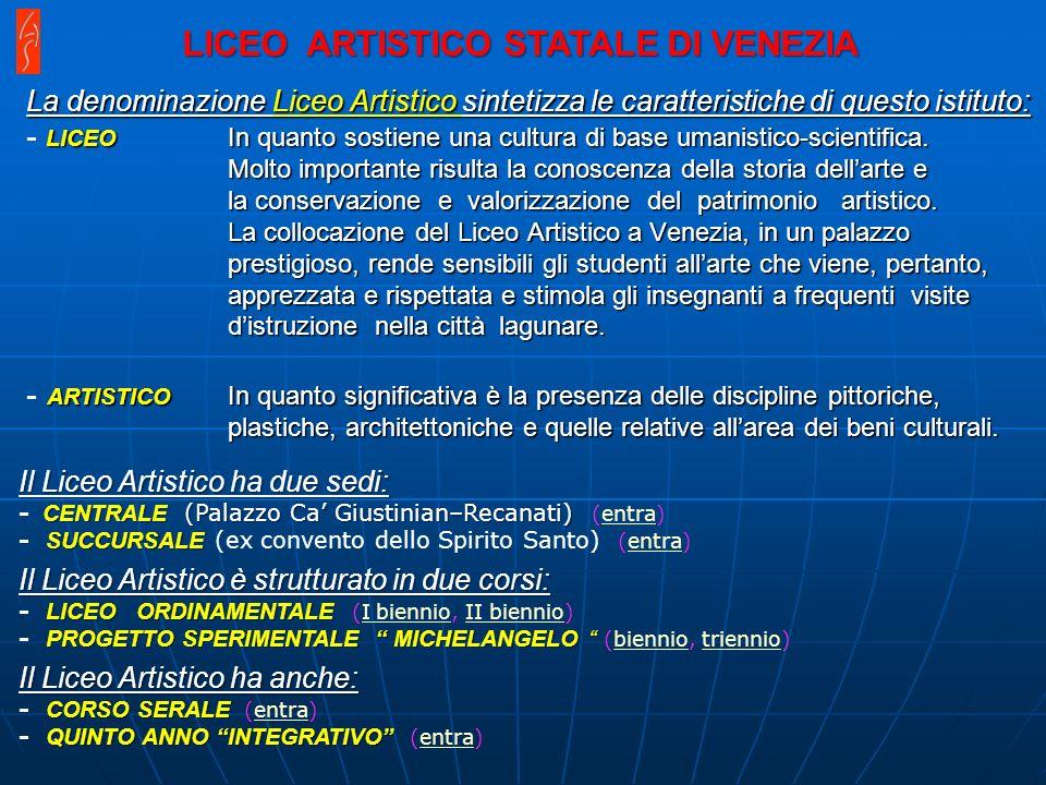 La denominazione Liceo Artistico sintetizza le caratteristiche di questo istituto: LICEO In quanto sostiene una cultura di base umanistico-scientifica