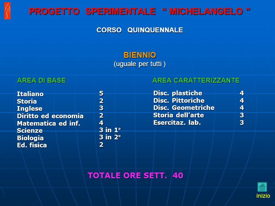 PROGETTO SPERIMENTALE MICHELANGELO CORSO QUINQUENNALE BIENNIO (uguale per tutti ) Italiano Storia Inglese Diritto ed economia Matematica ed inf.