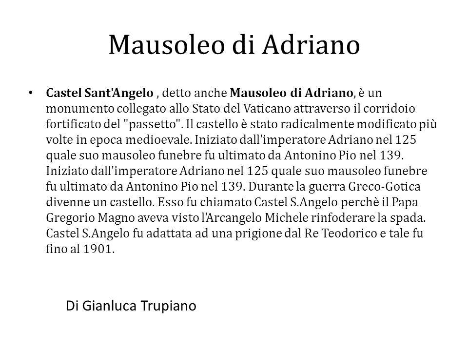 Castel Sant'Angelo, detto anche Mausoleo di Adriano, è un monumento collegato allo Stato del Vaticano attraverso il corridoio fortificato del