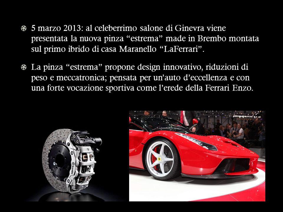 5 marzo 2013: al celeberrimo salone di Ginevra viene presentata la nuova pinza estrema made in Brembo montata sul primo ibrido di casa Maranello LaFer