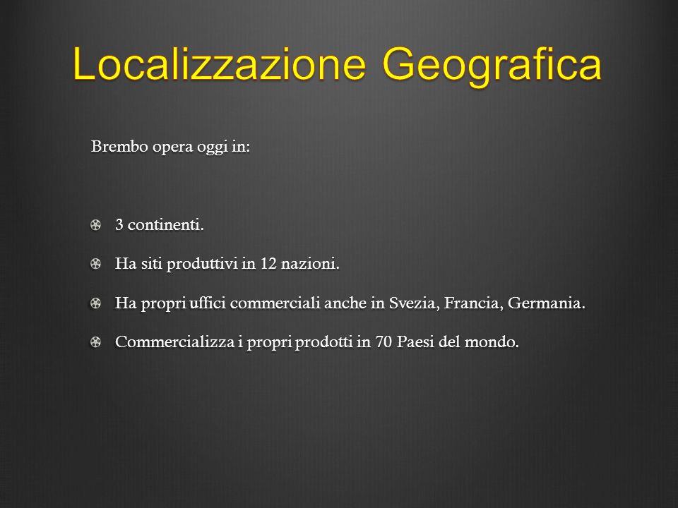 Brembo opera oggi in: 3 continenti. Ha siti produttivi in 12 nazioni. Ha propri uffici commerciali anche in Svezia, Francia, Germania. Commercializza