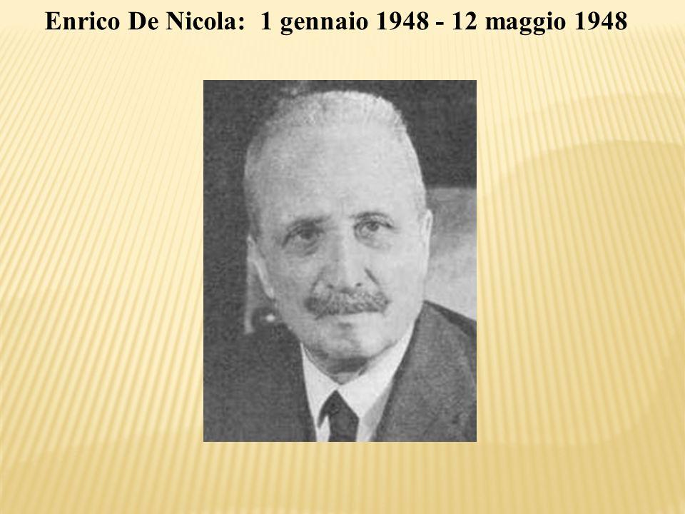 Enrico De Nicola: 1 gennaio 1948 - 12 maggio 1948
