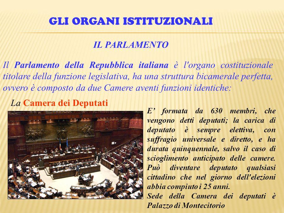 GLI ORGANI ISTITUZIONALI IL PARLAMENTO Il Parlamento della Repubblica italiana è l'organo costituzionale titolare della funzione legislativa, ha una s