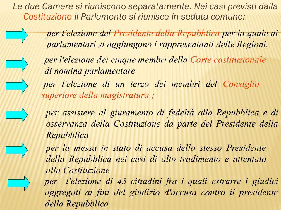 Le due Camere si riuniscono separatamente. Nei casi previsti dalla Costituzione il Parlamento si riunisce in seduta comune: per l'elezione del Preside