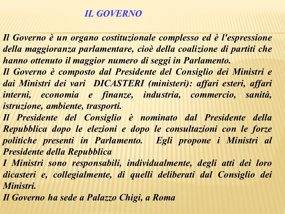 Il Governo è un organo costituzionale complesso ed è l'espressione della maggioranza parlamentare, cioè della coalizione di partiti che hanno ottenuto