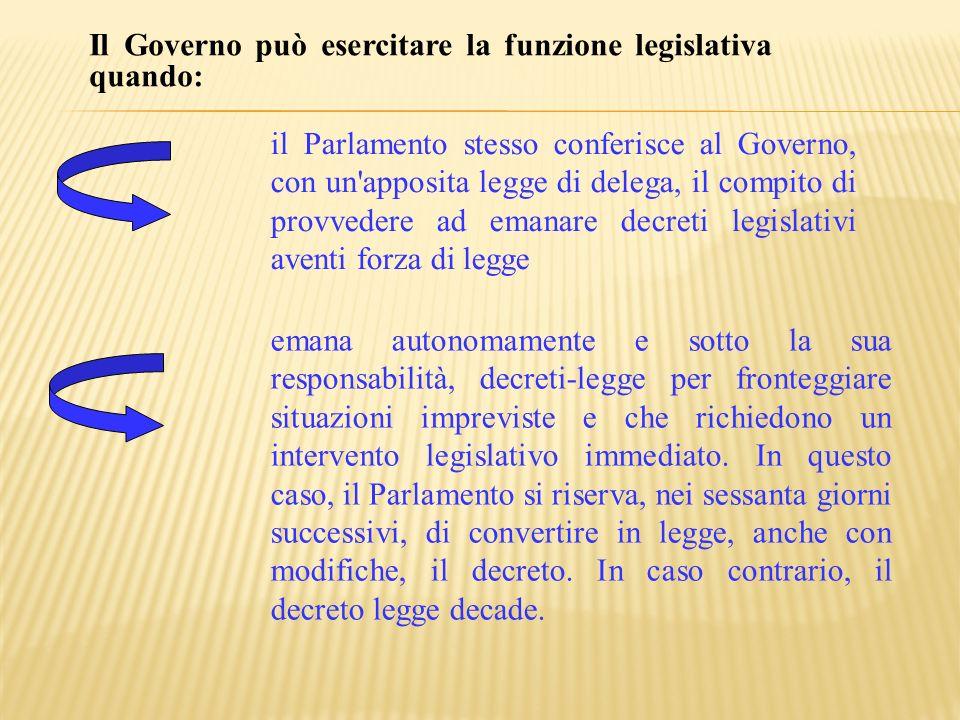 Il Governo può esercitare la funzione legislativa quando: il Parlamento stesso conferisce al Governo, con un'apposita legge di delega, il compito di p