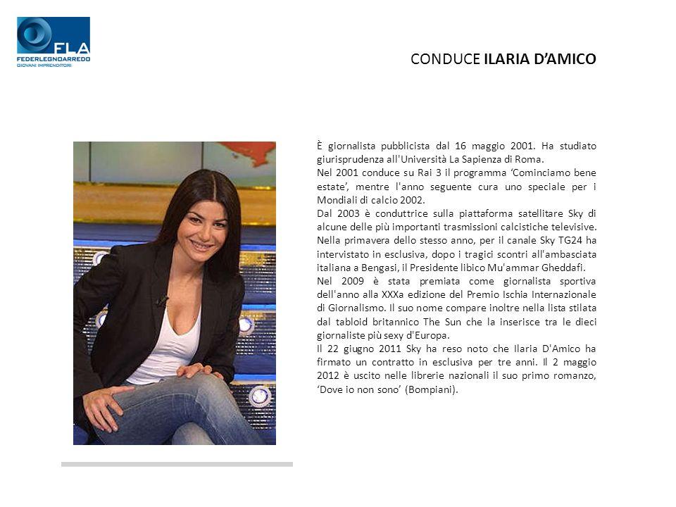 CONDUCE ILARIA DAMICO È giornalista pubblicista dal 16 maggio 2001.