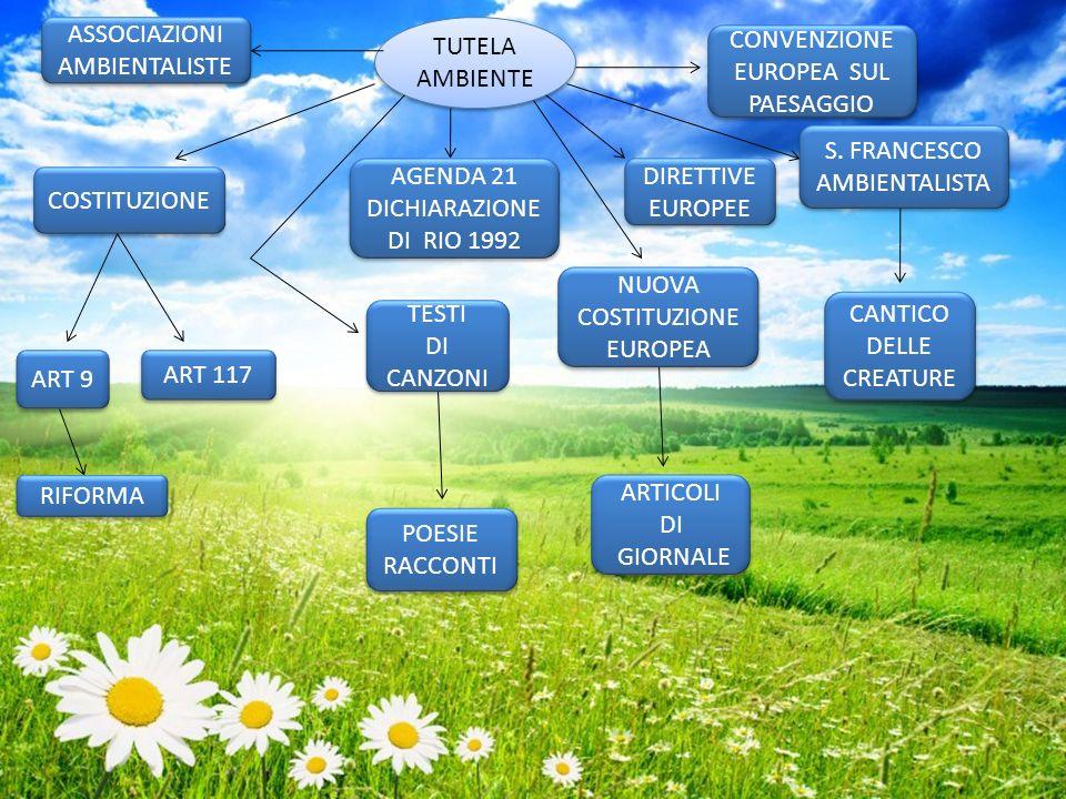 COSTITUZIONE ART 9 ART 117 RIFORMA AGENDA 21 DICHIARAZIONE DI RIO 1992 AGENDA 21 DICHIARAZIONE DI RIO 1992 DIRETTIVE EUROPEE CONVENZIONE EUROPEA SUL P
