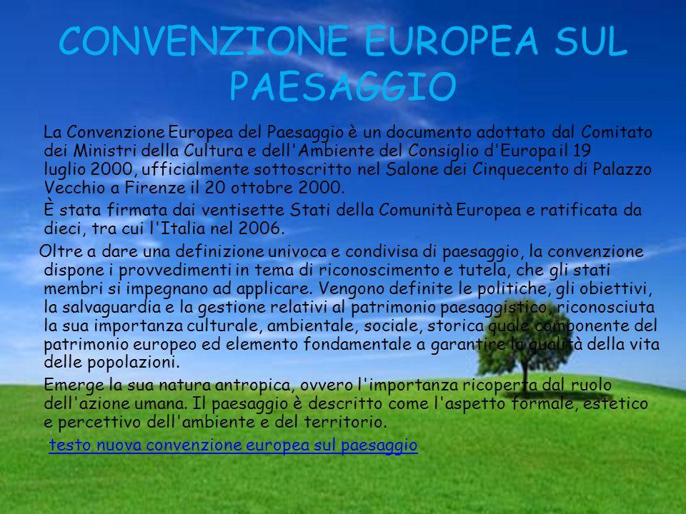 CONVENZIONE EUROPEA SUL PAESAGGIO La Convenzione Europea del Paesaggio è un documento adottato dal Comitato dei Ministri della Cultura e dell'Ambiente