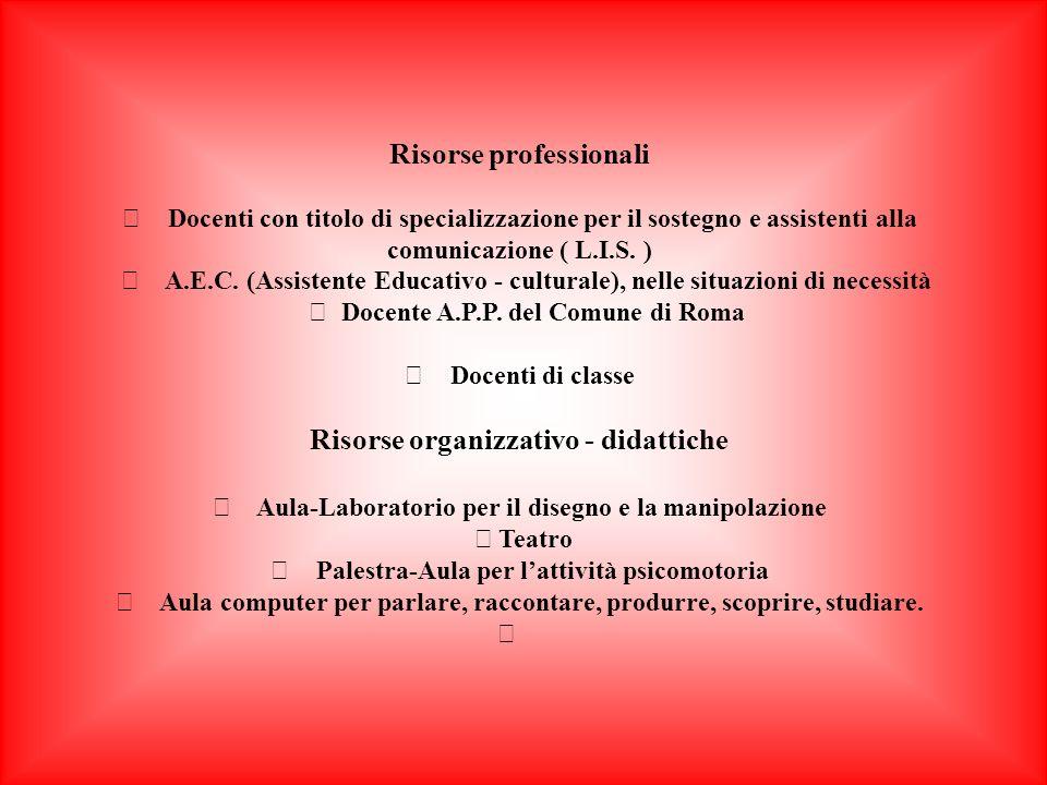 Risorse professionali Docenti con titolo di specializzazione per il sostegno e assistenti alla comunicazione ( L.I.S.