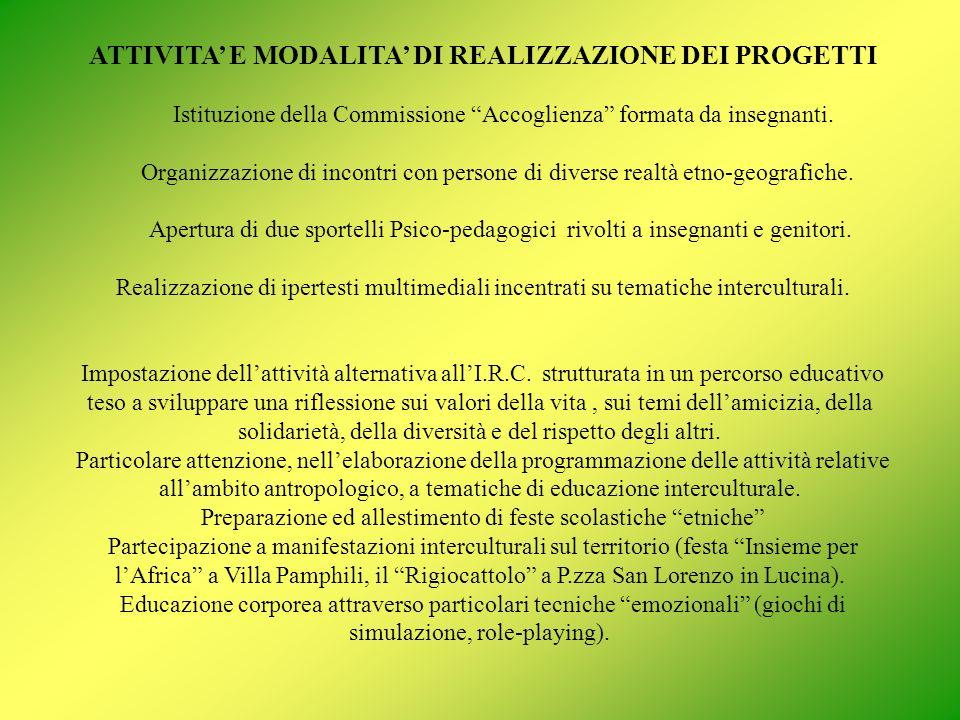 ATTIVITA E MODALITA DI REALIZZAZIONE DEI PROGETTI Istituzione della Commissione Accoglienza formata da insegnanti.