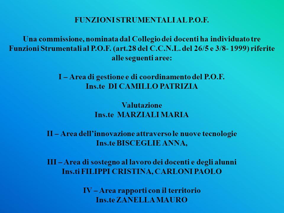 FUNZIONI STRUMENTALI AL P.O.F.