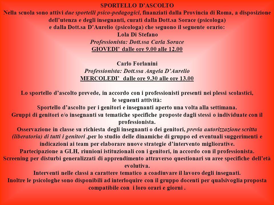 INTERCULTURA IID I diritti dei bambini IIIB Garantire luguaglianza rispettando le differenze IVA Italiano come L.2 VA Ascoltami…parlami…diventere mo amici VC-VD Progetto di Educazione alla legalità Legalmente si può IC Insieme si può IIB Crescere insieme IIC Compleanni insieme IIIA-IIIC Vivere insieme IVB-IVC Io e gli altri VA-VC Educare alla convivenza CONTINUITA VA-VB-VC Crescendo…