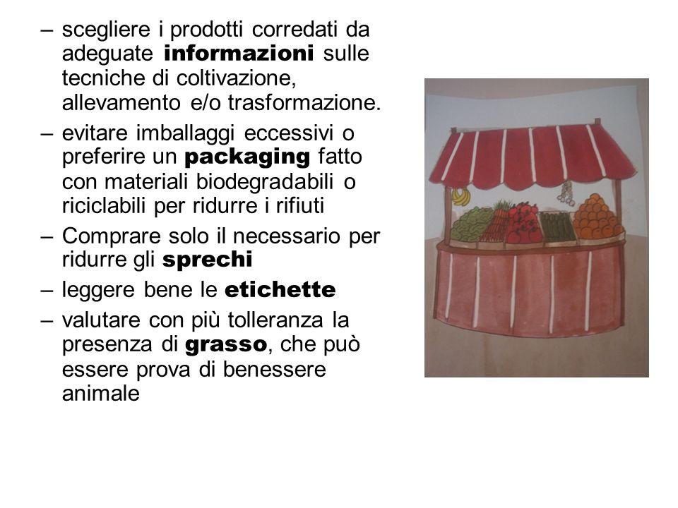 –scegliere i prodotti corredati da adeguate informazioni sulle tecniche di coltivazione, allevamento e/o trasformazione. –evitare imballaggi eccessivi