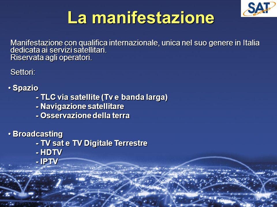 La manifestazione Manifestazione con qualifica internazionale, unica nel suo genere in Italia dedicata ai servizi satellitari.