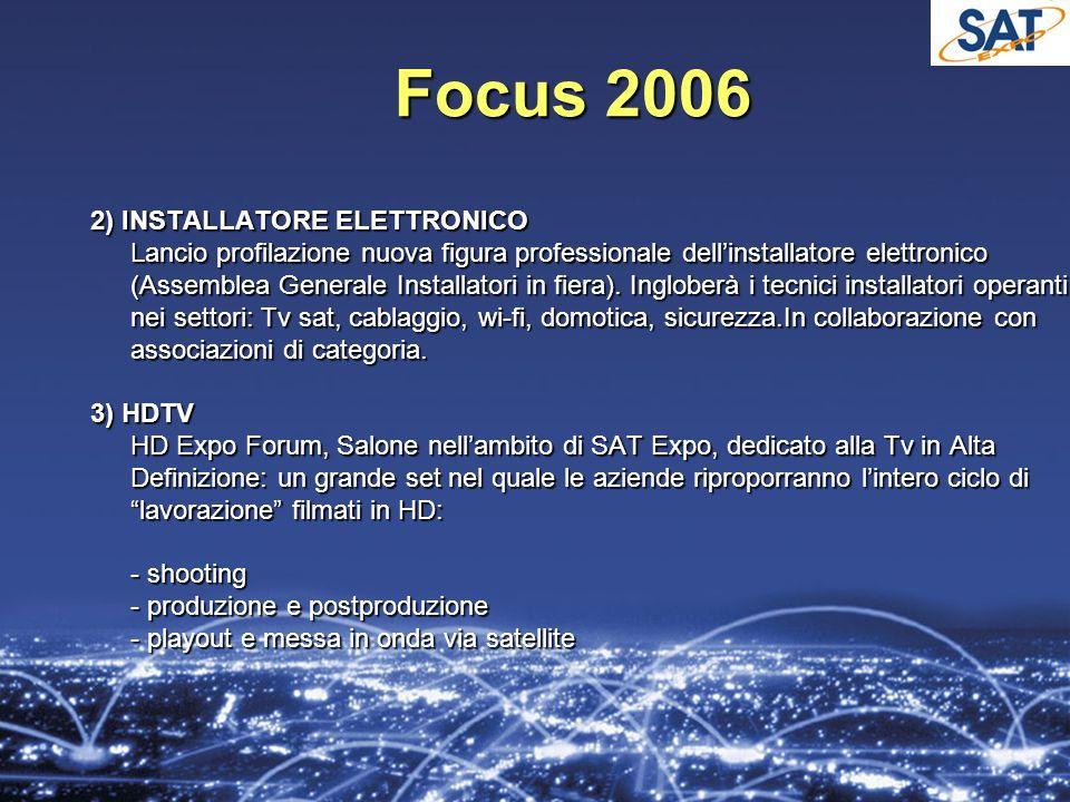 Focus 2006 2) INSTALLATORE ELETTRONICO Lancio profilazione nuova figura professionale dellinstallatore elettronico (Assemblea Generale Installatori in fiera).