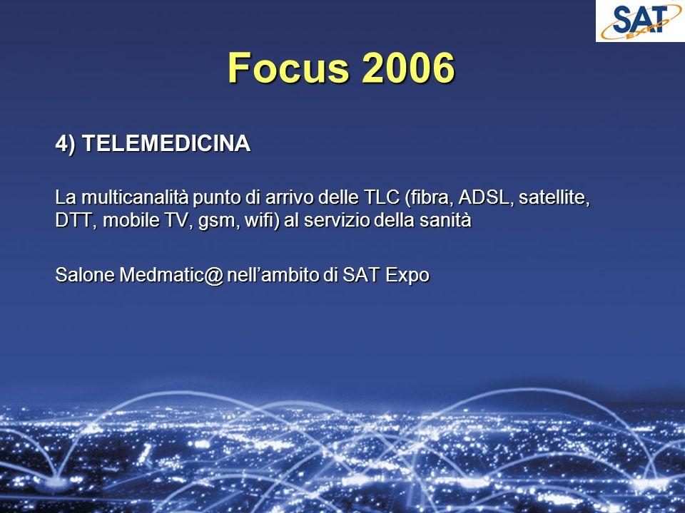 Focus 2006 4) TELEMEDICINA La multicanalità punto di arrivo delle TLC (fibra, ADSL, satellite, DTT, mobile TV, gsm, wifi) al servizio della sanità Salone Medmatic@ nellambito di SAT Expo