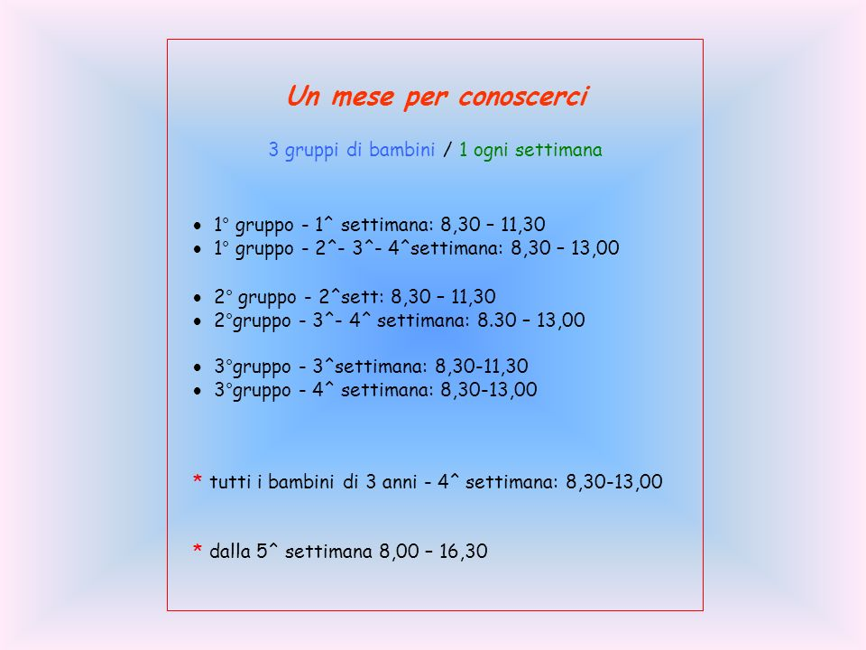 Un mese per conoscerci 3 gruppi di bambini / 1 ogni settimana 1° gruppo - 1^ settimana: 8,30 – 11,30 1° gruppo - 2^- 3^- 4^settimana: 8,30 – 13,00 2° gruppo - 2^sett: 8,30 – 11,30 2°gruppo - 3^- 4^ settimana: 8.30 – 13,00 3°gruppo - 3^settimana: 8,30-11,30 3°gruppo - 4^ settimana: 8,30-13,00 * tutti i bambini di 3 anni - 4^ settimana: 8,30-13,00 * dalla 5^ settimana 8,00 – 16,30