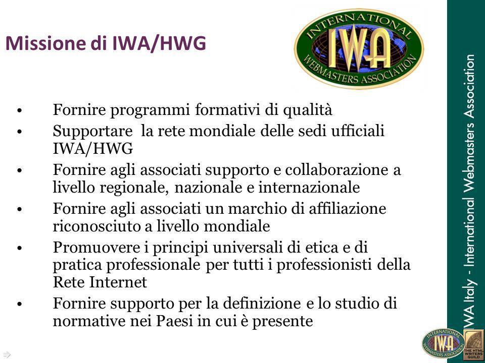 Missione di IWA/HWG Fornire programmi formativi di qualità Supportare la rete mondiale delle sedi ufficiali IWA/HWG Fornire agli associati supporto e