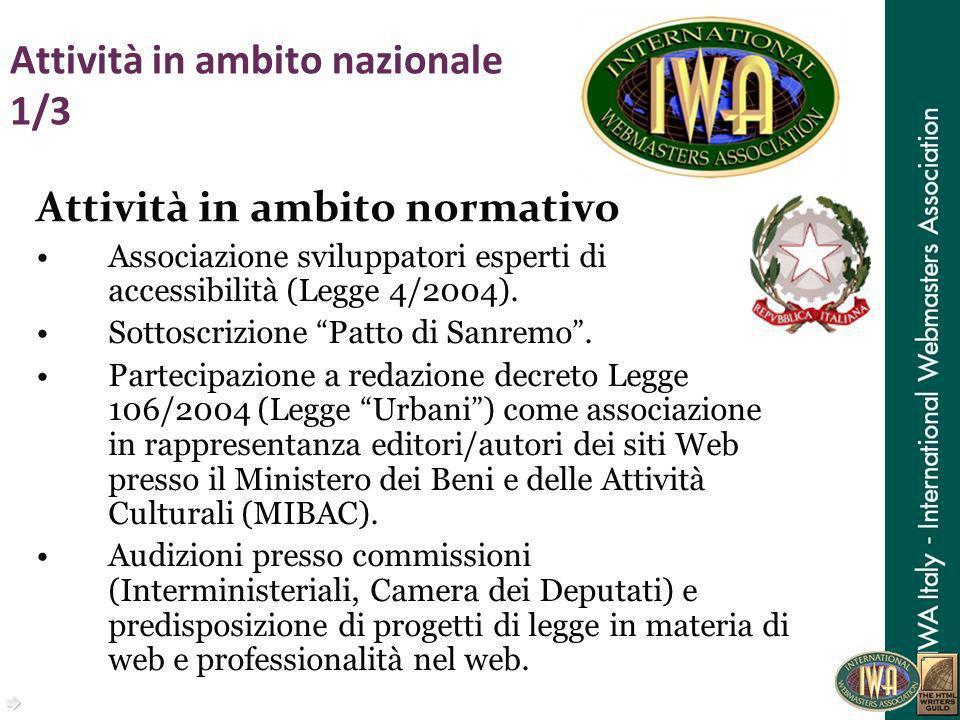 Attività in ambito nazionale 1/3 Attività in ambito normativo Associazione sviluppatori esperti di accessibilità (Legge 4/2004). Sottoscrizione Patto