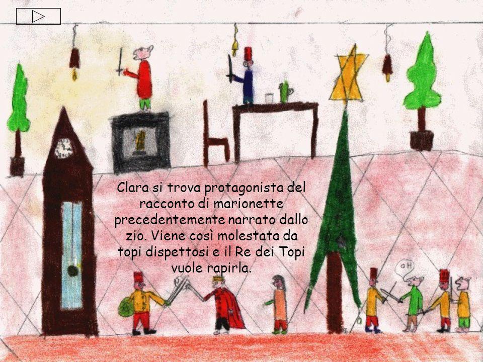 Clara si trova protagonista del racconto di marionette precedentemente narrato dallo zio. Viene così molestata da topi dispettosi e il Re dei Topi vuo
