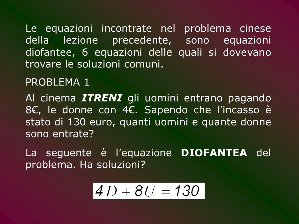 Risolvere la seguente equazione diofantea Soluzioni intere (anche negative quindi) Una soluzione particolare è (-29,-29), cioè x 0 =-29, y 0 =-29 Una soluzione generica è (-29-4r,-29-3r) con r numero intero qualsiasi Utilizzando le seguenti formule si ottengono le infinite soluzioni :