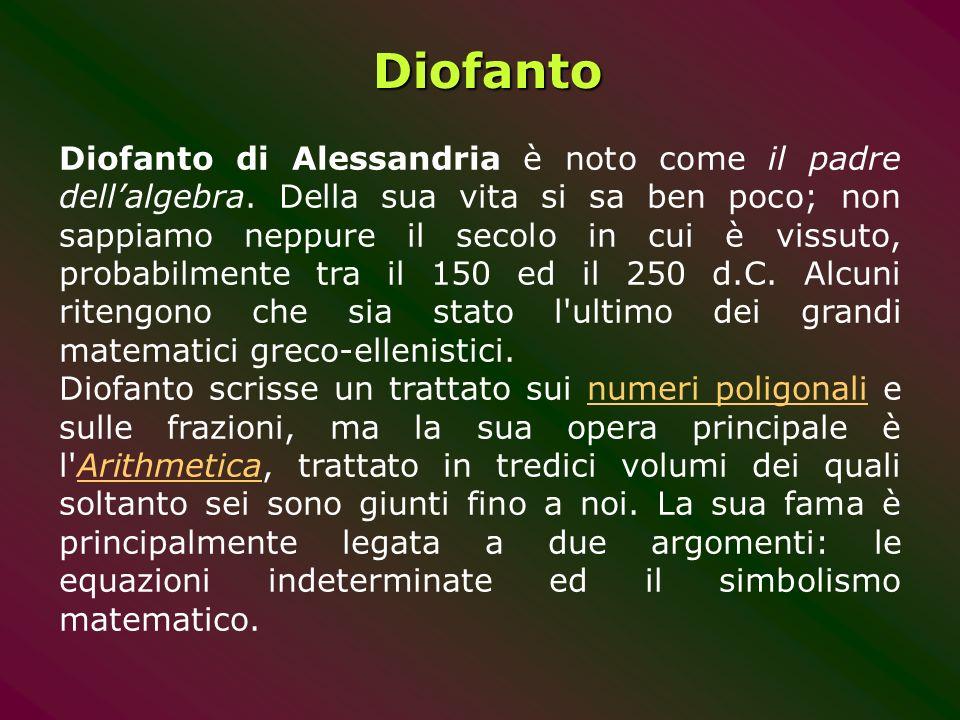 Diofanto Diofanto di Alessandria è noto come il padre dellalgebra. Della sua vita si sa ben poco; non sappiamo neppure il secolo in cui è vissuto, pro
