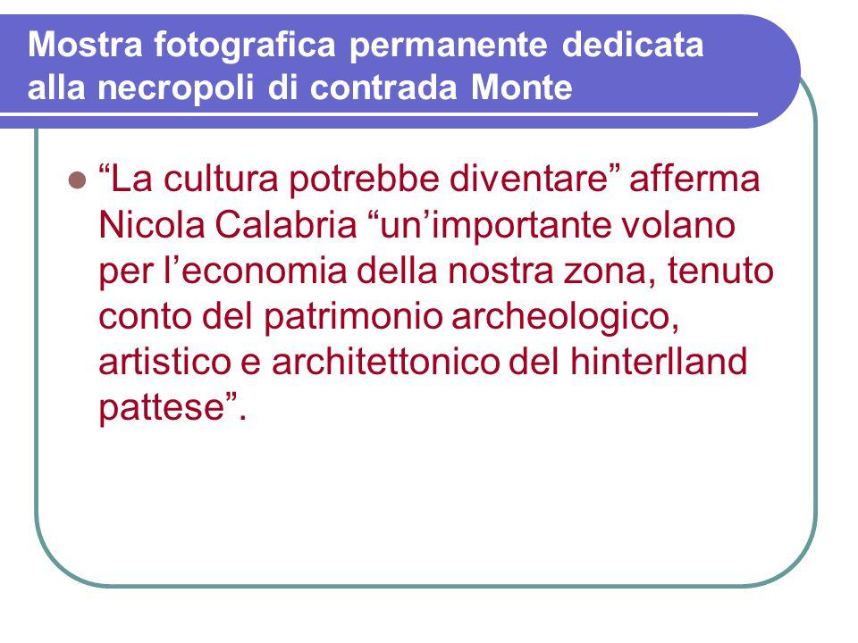 Mostra fotografica permanente dedicata alla necropoli di contrada Monte Certamente larea di c.da Monte e Valle di Sorrentini potrebbe diventare un imp