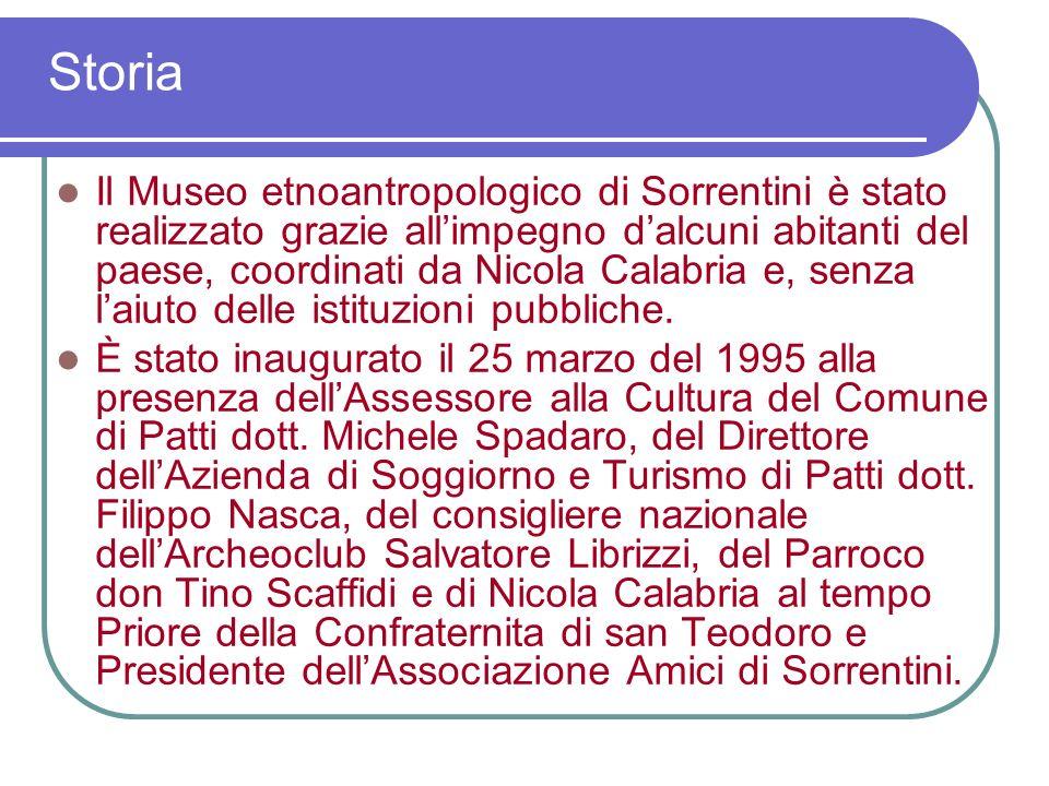 Il Museo etnoantropologico di Sorrentini è stato realizzato grazie allimpegno dalcuni abitanti del paese, coordinati da Nicola Calabria e, senza laiuto delle istituzioni pubbliche.